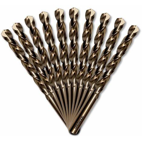 10 forets métaux HSS Cobalt 5% D. 3 mm x Lu. 33 x Lt. 61 mm 135° taillé, meulé pour acier / Inox - Diamwood