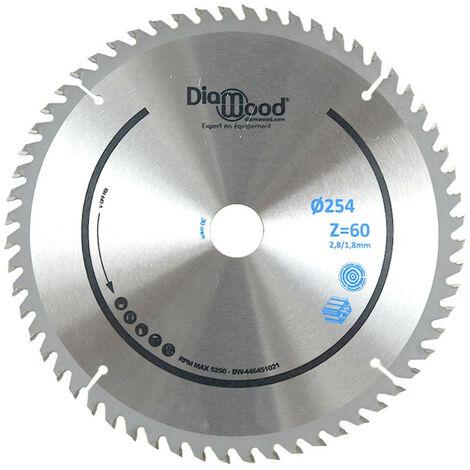 Lame de scie circulaire HM universelle D. 254 x Al. 30 x ép. 2,8/1,8 mm x Z60 TP Nég pour Alu/bois - Diamwood
