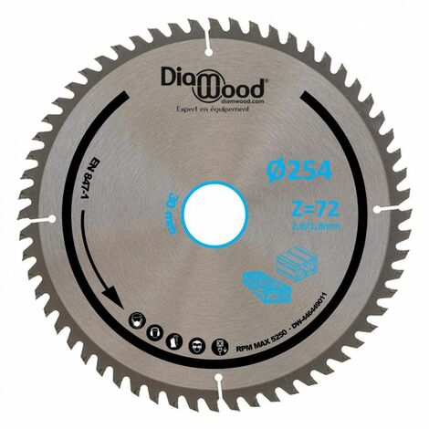 Lame de scie circulaire HM finition D. 254 x Al. 30 x ép. 2,8/1,8 mm x Z72 TP Nég pour Alu/bois - Diamwood