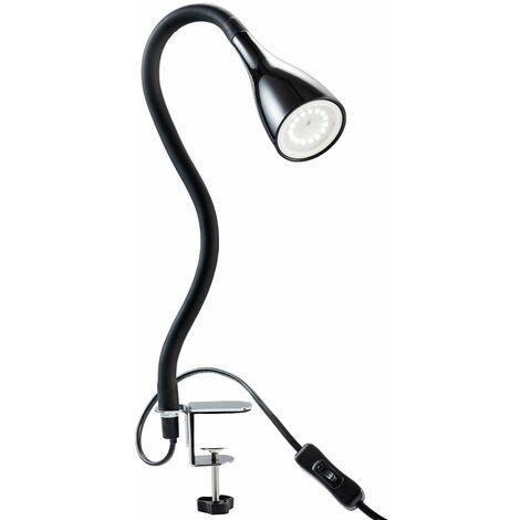 Lampe de table à pince LED dimmable lampe de lecture flexible lampe de chevet noire 5W