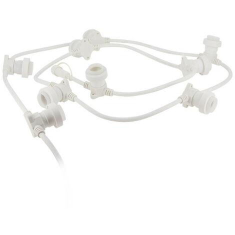 Guirlande extérieure, personnalisable et extensible, câble blanc, compatible culot E27 (vendue seule, hors ampoules)