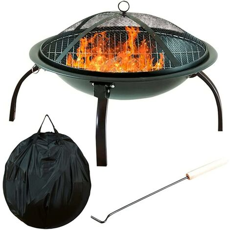 Neo Black Garden Steel Fire Pit Outdoor Heater with Cover