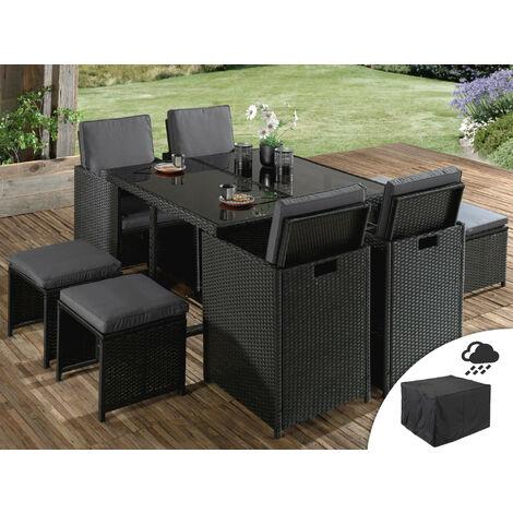 Sophia - Salon de jardin encastrable 8 places - en résine tressée - Noir avec coussins gris + Housse de protection Couleur - Noir - Noir / Gris