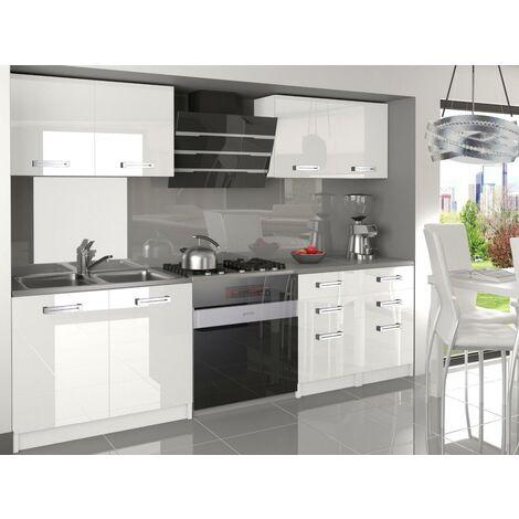 CORNETTA | Cuisine Complète Modulaire Linéaire L 160 cm 6 pcs | Plan de travail INCLUS | Ensemble armoires meubles cuisine | Blanc - Blanc