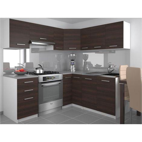 DARCIA - Cuisine Complète d'angle + Modulaire L 300 cm 9 pcs - Plan de travail INCLUS - Ensemble armoires placards cuisine - Châtaigne