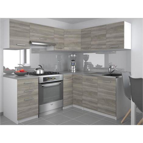 DARCIA | Cuisine Complète d'angle + Modulaire L 300 cm 9 pcs | Plan de travail INCLUS | Ensemble armoires modernes cuisine | Silver - Silver