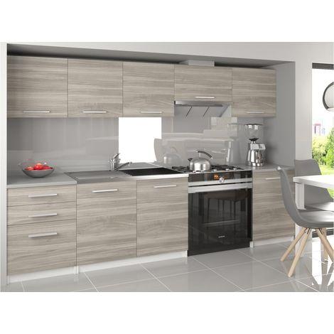NOVIA | Cuisine Complète Linéaire 240/180 cm 7 pcs | Plan de travail INCLUS | Ensemble meubles cuisine | Silver - Silver
