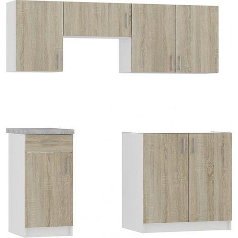 NOLA | Cuisine complète linéaire + modulaire 180cm 5 pcs | Plan de travail INCLUS | Ensemble meubles cuisine - Sonoma