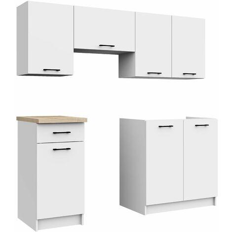 ASTRA | Cuisine complète linéaire + modulaire 180 cm 5 pcs | Plan de travail INCLUS | Ensemble meubles armoires cuisine | Blanc - Blanc