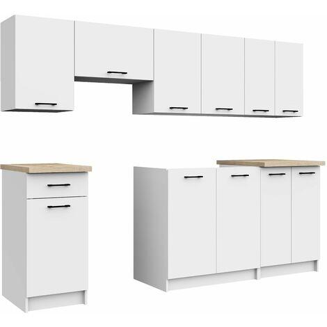 ASTRA | Cuisine complète linéaire + modulaire 240 cm 7 pcs | Plan de travail INCLUS | Ensemble meubles armoires cuisine | Blanc - Blanc
