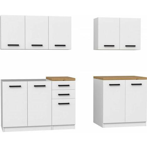 JASPER | Cuisine Complète Modulaire + Linéaire L 200 cm 6 pcs | Plan de travail INCLUS | Meubles armoires cuisine - Blanc/Chêne