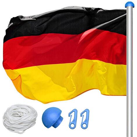 VINGO Aluminium Fahnenmast und Bodenhülse 6,5 m, hochwertiges Flaggenmast inkl. Deutschlandfahne 150*90 cm mit Abschlusskappe