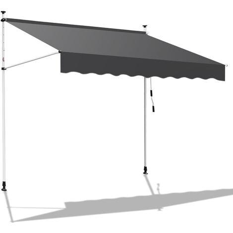 Hengda 400 x 120 cm Markise Einziehbar Klemmmarkise Balkonmarkise Sonnenschutz ohne Bohren Höhenverstellbar