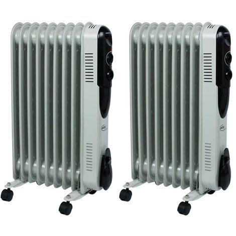 2er Set Öl Radiatoren Stand Heizungen 3 Stufen 2000 Watt Heizer mobil Thermostat einstellbar