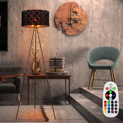 Decken Fluter schwarz gold FERNBEDIENUNG Stativ Steh Lampe DIMMBAR im Set inkl. RGB LED Leuchtmittel
