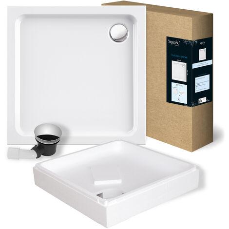 'aquaSu® Acryl-Brausewannen Set   Duschwanne, Brausewanne mit Wannenträger und Excenter Ablaufgarnitur   90 x 90 x 6,5 cm   Weiß