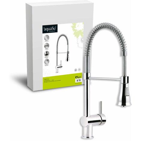 'aquaSu® 77108 5 Einhandmischer Fresh für Küchen-Spüle | Chrom | Geschirrbrause | Küchenarmatur | Spültisch-Armatur | Wasserhahn Küche