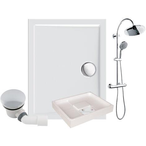 Calmwaters® - Modern Select - Bodengleiche Dusche in 100 x 80 cm im Set mit Duschsystem, Wannenträger & Ablaufgarnitur - 99000230