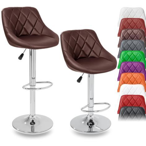 TRESKO 2 x Bar Stools Set with Backrest | Leatherette Exterior | Height Adjustable and Adjustable Swivel Gas Lift | Chrome Footrest | Available in 10 Colors (2x Brown)