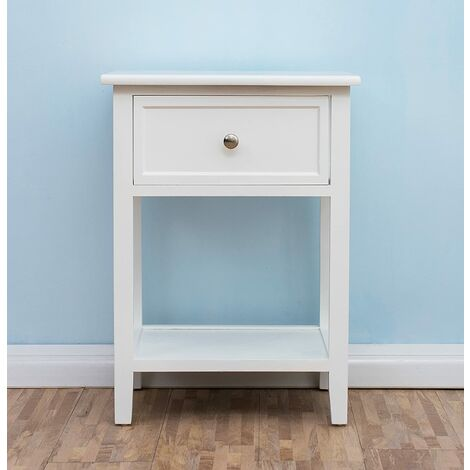 CherryTree Furniture Wood White Bedside Table With Drawer
