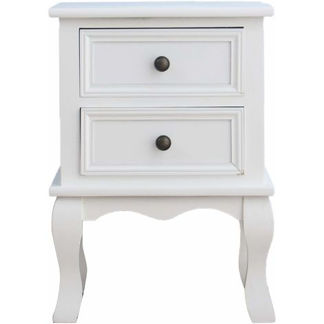 Wood Bedside Table 2-Drawers Cabinet