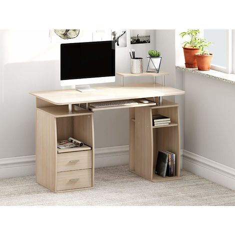 Computer Desk with Cupboard Drawers and Keyboard Tray