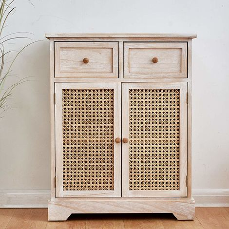 Cherry Tree Furniture REGA Rattan Cane & Paulownia Wood 2-Drawer 2-Door Cabinet Storage Sideboard