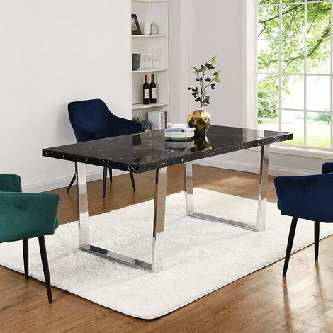 Cherry Tree Furniture BIASCA 6-Seater High Gloss Marble Effect Dining Table with Silver Chrome Legs