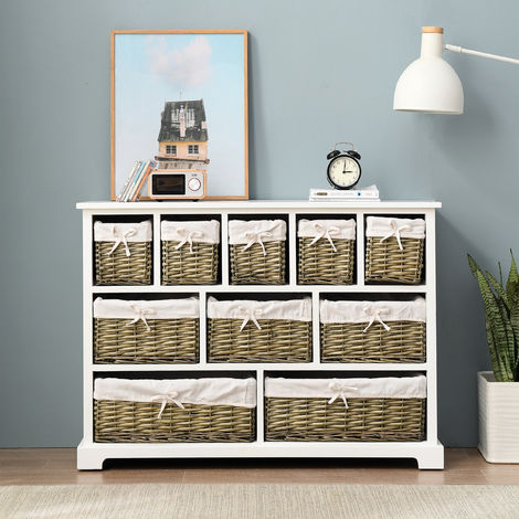 Cherry Tree Furniture 10 Drawer Chest with Willow Wicker Baskets FSC Certified