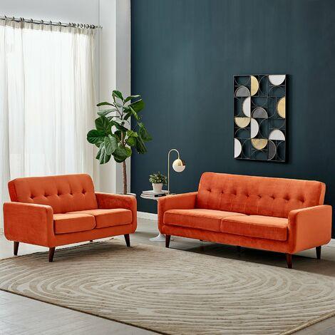 Cherry Tree Furniture Clarence 3 Seater Sofa in Burnt Orange Velvet