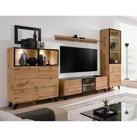 ENSEMBLE MEUBLES DE SALON TINO composé de trois meubles et d'une étagère de style industriel. - Marron