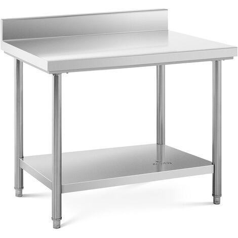 Mesa De Acero Inoxidable Para Hostelería Cocina 100 x 70 cm Antisalpique 120 kg