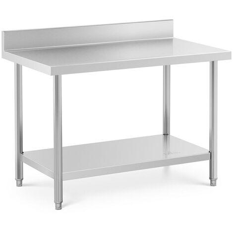 Mesa De Acero Inoxidable Para Hostelería Cocina 120 x 70 cm Antisalpique 115 kg