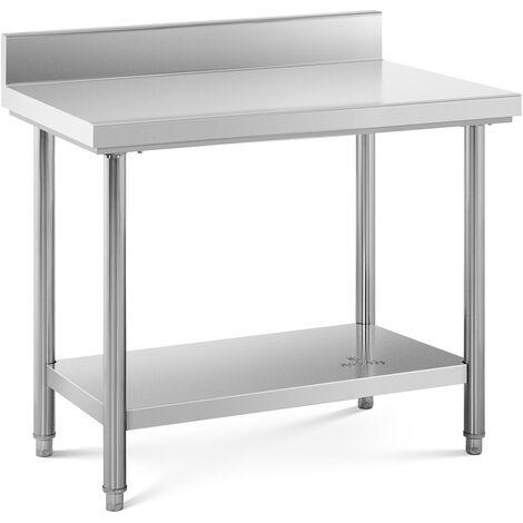 Tavolo Acciaio Inox Con Alzatina Piano Cucina Banco Da Lavoro 100 x 60 cm 114 kg