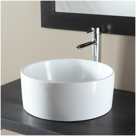 Vasque a poser ronde en ceramique blanc