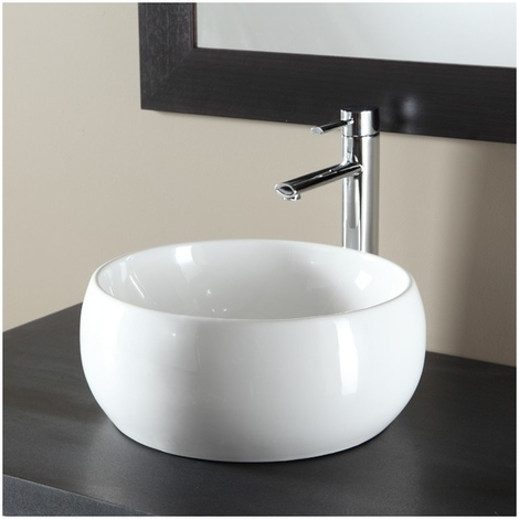 Vasque à poser forme bol en porcelaine blanche