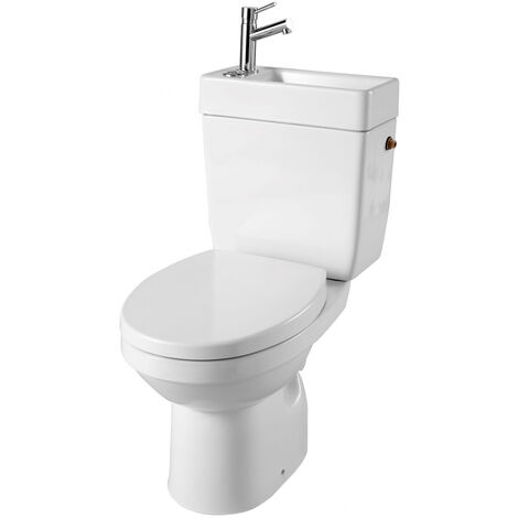 Ensemble wc à poser céramique 2 en 1 lave mains intégré - Sortie Verticale