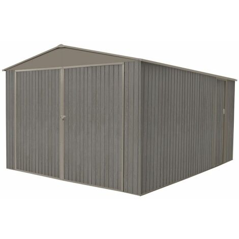 Garage métal - Aspect BOIS VIEILLI - 17,47 M²- GRIS