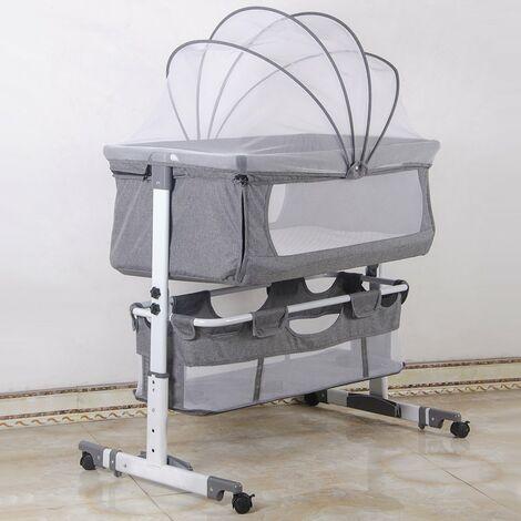 Culla Neonato Fianco Letto per Cosleeping, Spondina Abbattibile, Ideale Per Co-Sleeping - Grigio 92x58x70-87cm