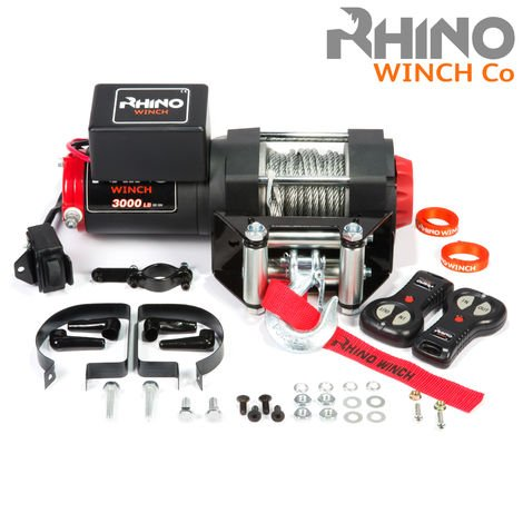 Rhino - Electric Winch 12v, 3,000lb / 1360Kg - Two Wireless Remotes - Steel Cable - Black Edition