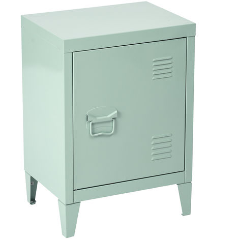 Metallic bedside table with storage in green