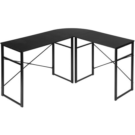 Corner desk table Corner desk Computer Desk Desk Wood and steel worktop, 83x40x72.5 and 63x40x72.5 cm (WxDxH), Wood, Black