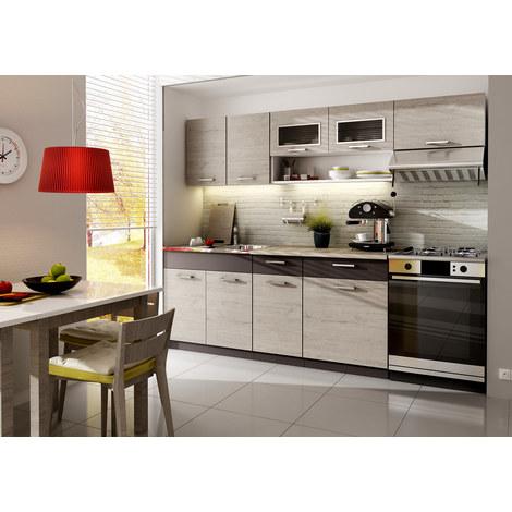 Cocina completa 240 cms color madera y marron, encimera y zocalos incluidos, ref-34