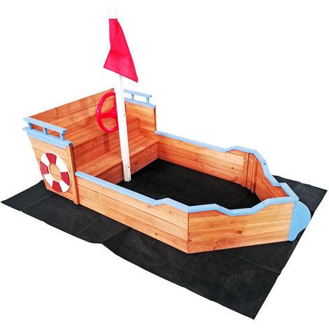 Sandkasten Boot mit Sitzbank 160x78x103cm Holz Vliesboden Holzsandkasten Garten
