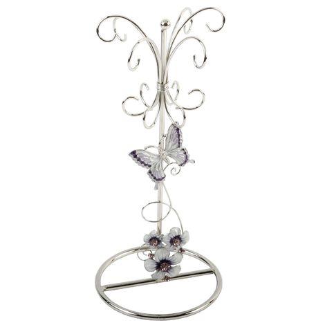 Sophia Purple Butterfly Wire Jewellery Holder