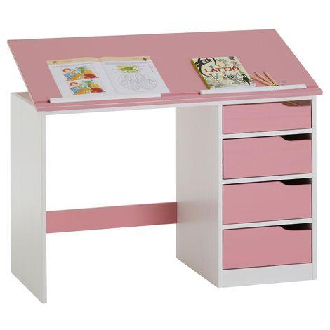 Bureau enfant écolier junior EMMA pupitre inclinable avec 4 tiroirs en pin massif, lasuré blanc et rose