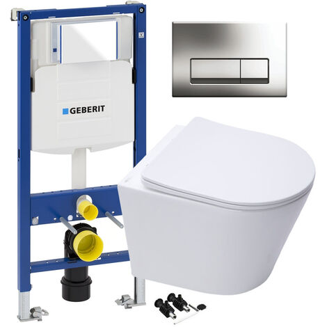 GEBERIT Delta Duofix Concealed Cistern WC Frame RAK Wall Hung Rimless Toilet Pan