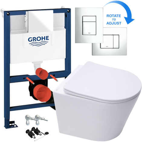 GROHE RAPID 0.82m SL 3 in 1 WC FRAME + RIMLESS WALL HUNG TOILET PAN WITH SLIM SOFT CLOSE SEAT - Includes Shiny Chrome Flush Plate