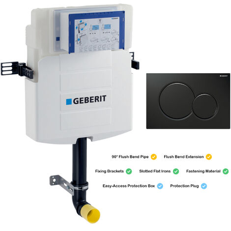 GEBERIT Sigma UP320 Concealed In Wall Toilet Cistern 12cm Black Dual Flush Plate