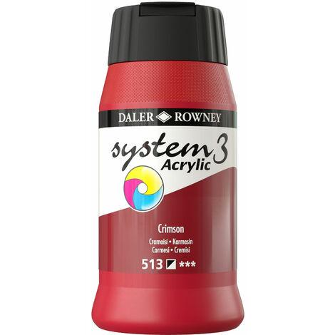 Daler Rowney System 3 Acrylic Paint Crimson (500ml)